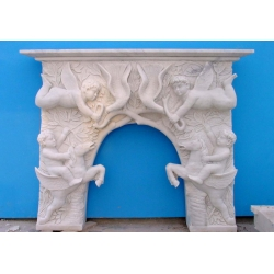 top white decorative marble fireplace mantel for sale