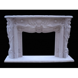 Natural indoor white marble fireplace mantel